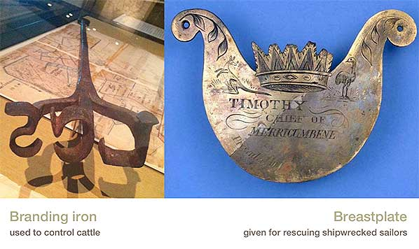 Juxtaposition: branding iron / Aboriginal breastplate